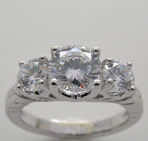 THREE STONE DIAMOND ACCENT ENGRAVED ENGAGEMENT RING SETTING FOR A 6.50 MM CENTER DIAMOND