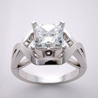 Deco Style Engagement Ring Setting show for a Princess Cut 6.00 x 6.00 mm