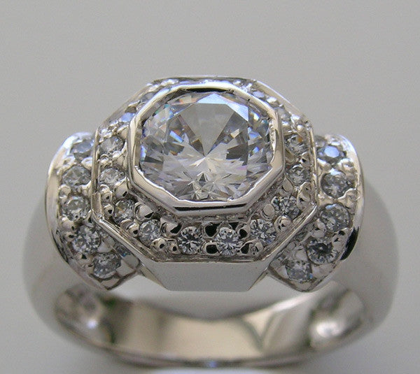 ANTIQUE STYLE ENGAGEMENT RING SETTING WITH DIAMOND ACCENT ENGAGEMENT RING SETTING