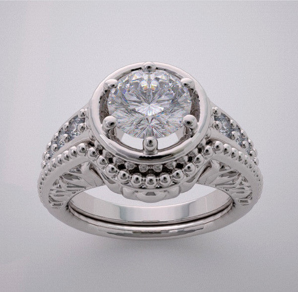 Lotus Design Engagement Ring Settings Set for a Round Shape diamond