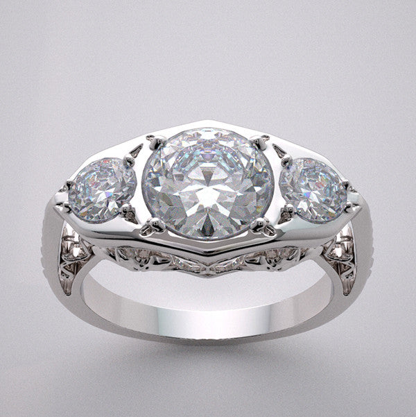 Antique Style Ring Setting for a 7.00 mm or a 1.25 Ct round diamond