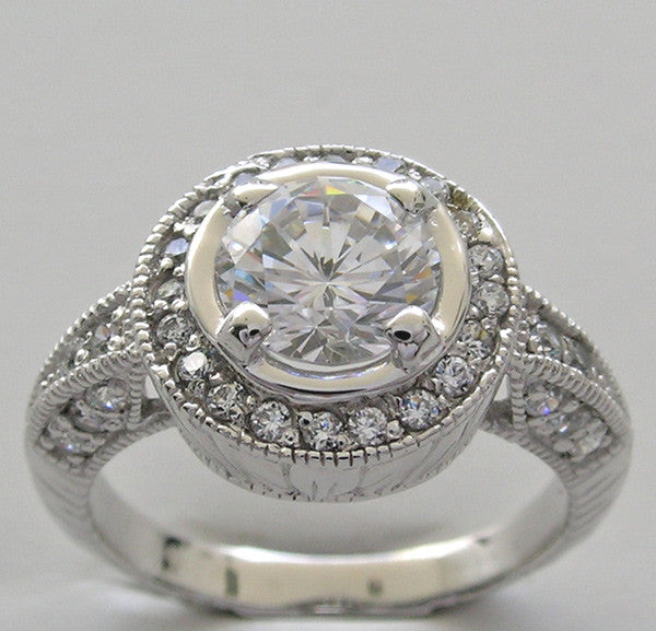 Art Deco Styling diamond ring setting for a 1.25 Carats Center Diamond