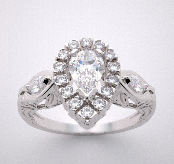 PEAR SHAPE ENGAGEMENT  RING SETTING WITH DIAMOND HALO