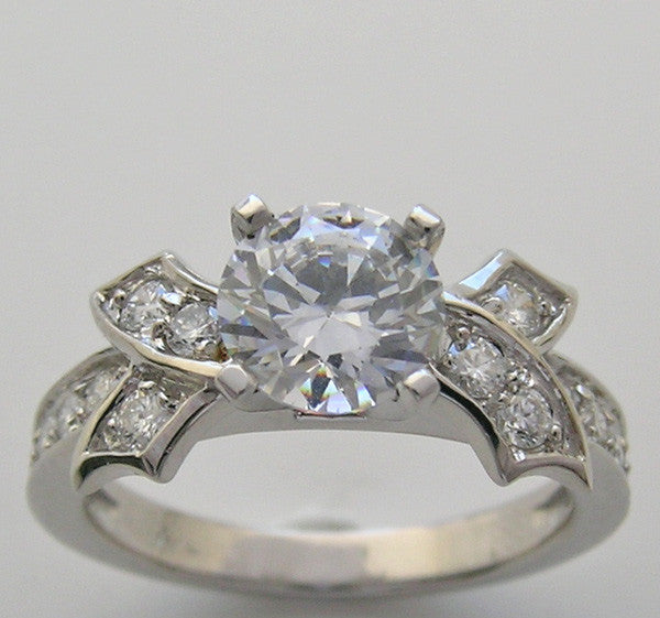 FEMININE DIAMOND BOW STYLE ENGAGEMENT RING SETTING MADE TO FIT ALL SIZE AND SHAPE DIAMOND