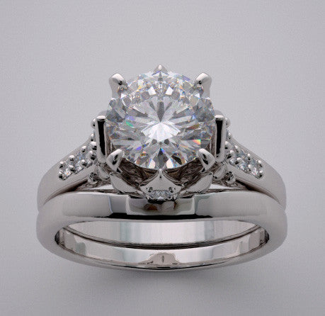DIAMOND ACCENT BRIDAL ENGAGEMENT RING SETTING SET GOLD OR PLATINUM