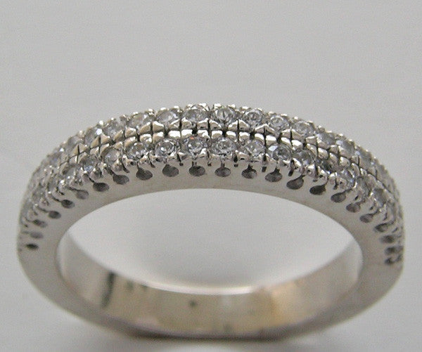 Double Row Fishtail Diamond Wedding Band Ring