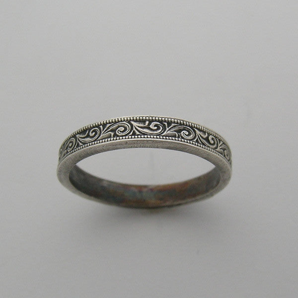 14k Floral Engraved Wedding Band Stack Ring
