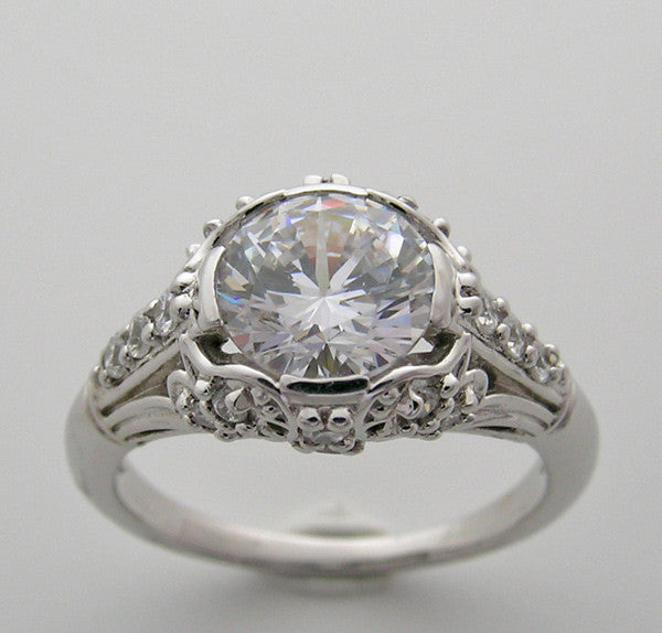 BEAUTIFUL ART DECO ANTIQUE STYLE DIAMOND ACCENT ENGAGEMENT RING SETTING