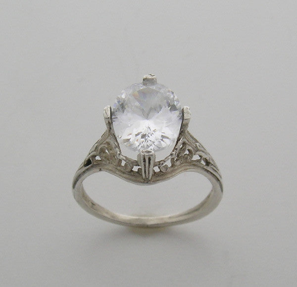 Art Deco Style Filigree Engagement Ring Setting for a an Oval Stone 10.00 x 8.00 mm