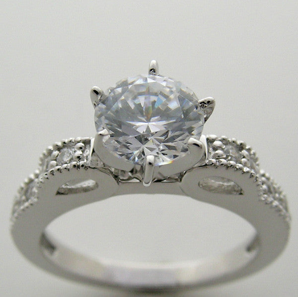 Feminine Bow Design Engagement Ring Setting with Diamond Accents