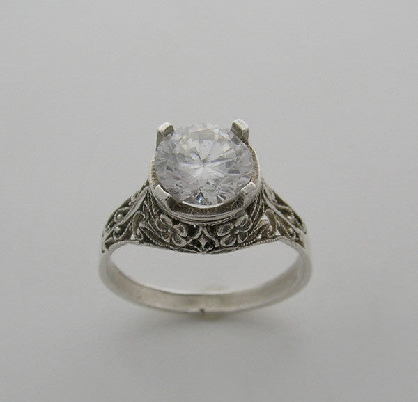 VINTAGE FLORAL DESIGN ART DECO ANTIQUE STYLE FILIGREE RING SETTING 7.00 MM ROUND DIAMOND