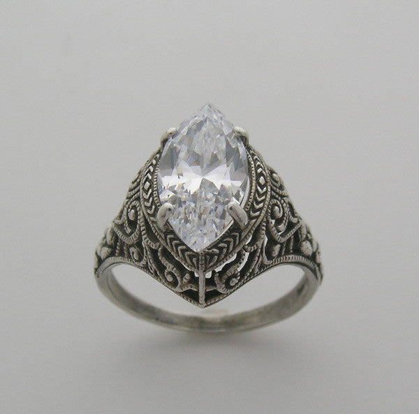 Marquise Shape 12.00 x 6.00 mm  Antique Style Rig Setting Filigree