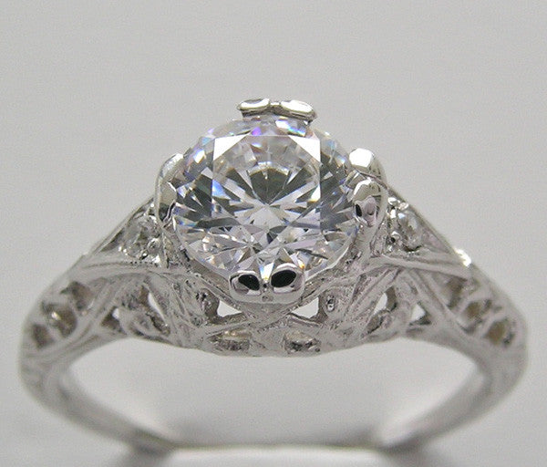 Art Deco Solitaire Filigree Engagement Ring Setting