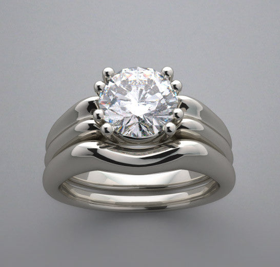 Engagement Ring Setting Set for a 6.5 mm size round diamond