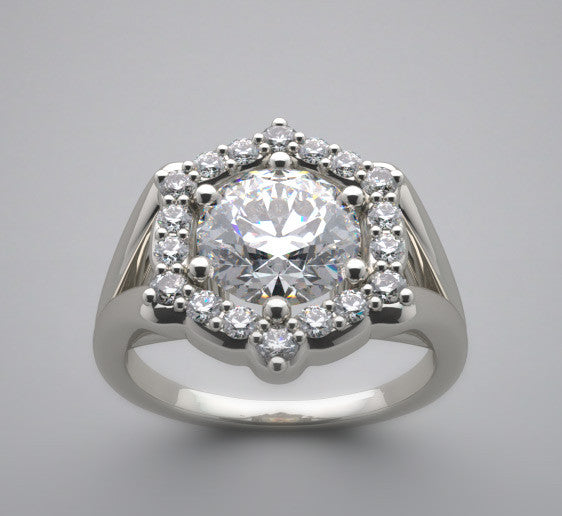 Antique Style Diamond Accent Flush Ring Setting