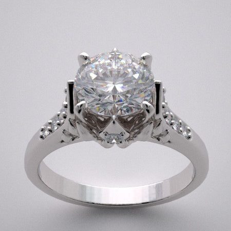 Crown Motif Engagement Ring Setting with Accent Diamonds
