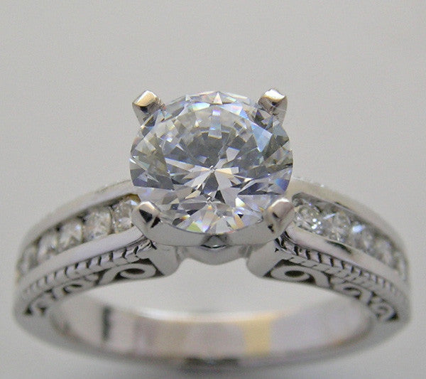 DIAMOND DETAIL ACCENT ENGAGEMENT RING SETTING WITH PIERCED WORK