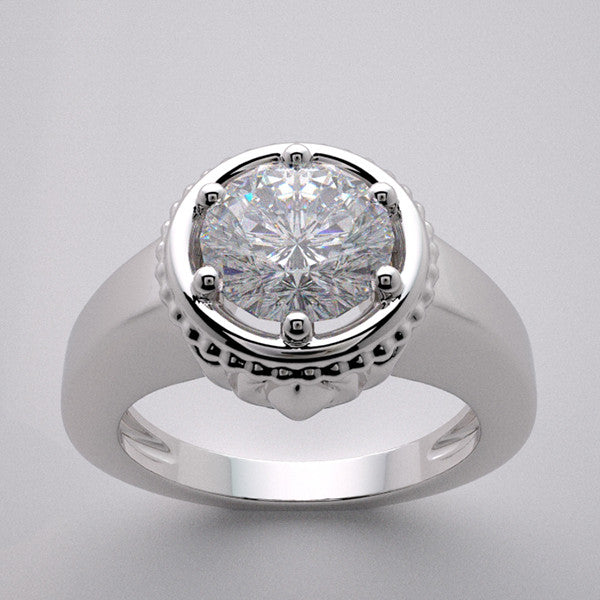 Lotus Ring Setting for a 1.00 Carat round diamond