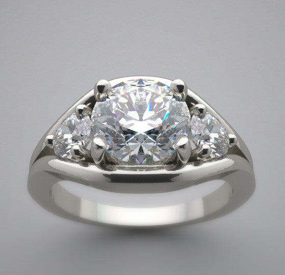 Three Stone Diamond Ring Setting shown for 7.00 mm Round Diamond