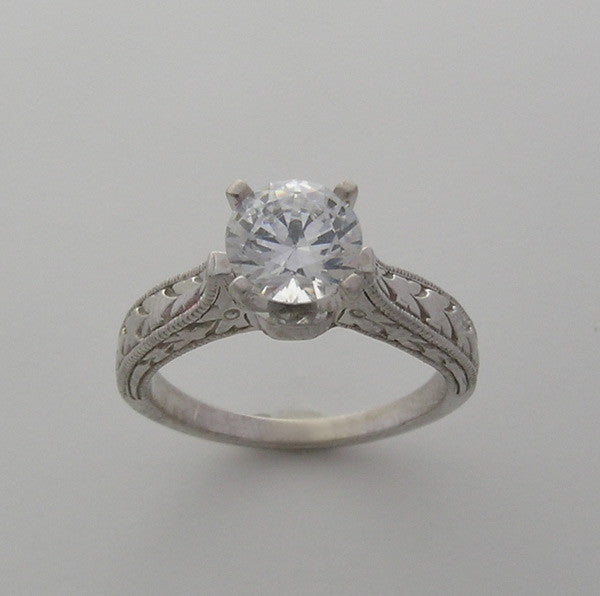 Engraved Antique Style Engagement Ring Setting