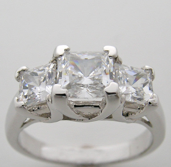 Three Stone Engagement Ring setting for a Princess Cut Diamond