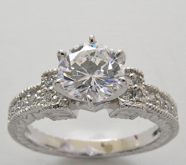 Antique Style Diamond Engagement Ring Setting