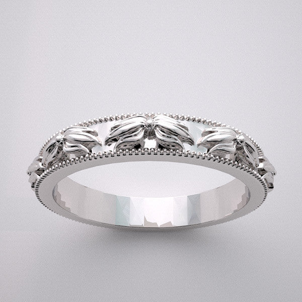 Antique Style Flower Design Wedding Band