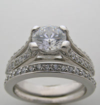 interesting  pave diamond split shank ring setting set