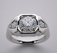 THREE STONE DIAMOND RING SETTING SHOWN WITH 1.25 CT CENTER DIAMOND