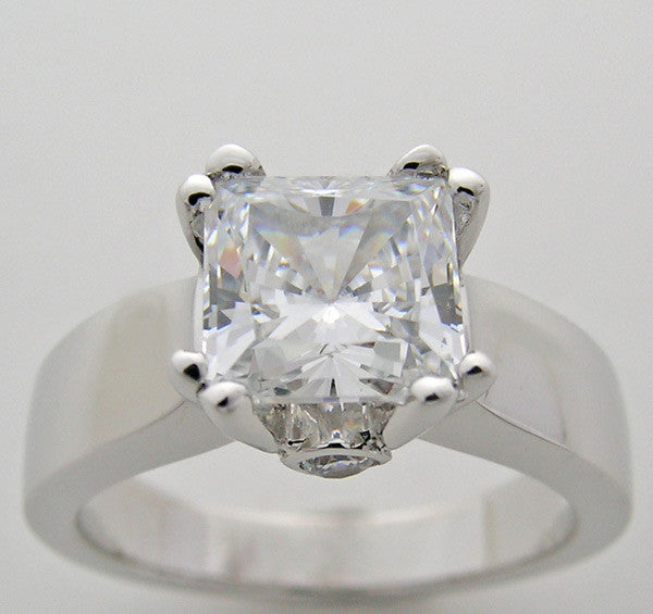 Hefty Ring Setting for a Princess or Square cut Diamond