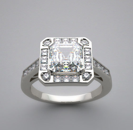 Antique Vintage Style Ring setting for a 6.00 x 6.00 mm emerald cut gemstone