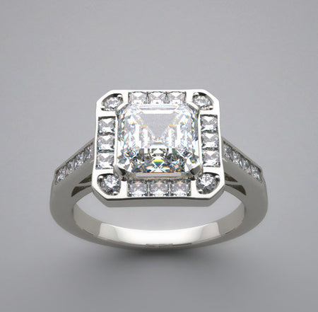 Antique Vintage Style Ring setting for a 6.00 x 6.00 mm princess cut gemstone