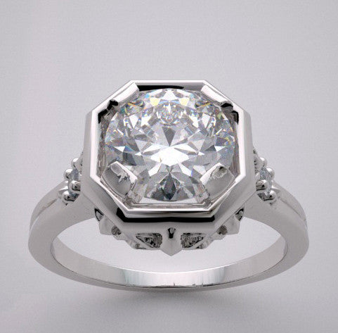 Art Deco Style Diamond Engagement Ring Setting for a 6.50 mm Round Diamond