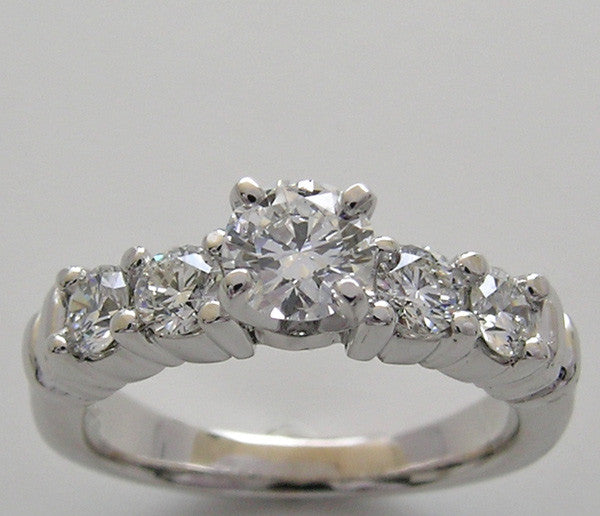 UNUSUAL 5 STONE DIAMOND ENGAGEMENT RING SETTING FOR ALL SIZE AND SHAPE GEMSTONE