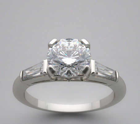Engagement Diamond Ring Setting with Side Baguettes Diamonds for a 1.00 Carat Diamond