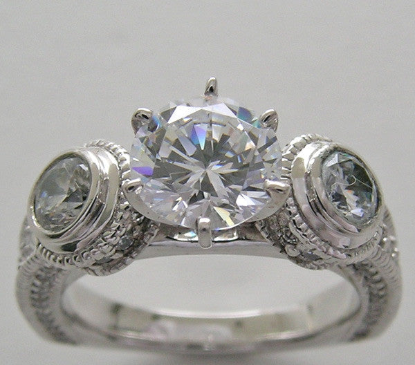 UNIQUE THREE STONE DIAMOND BEZEL AND PRONG SET RING SETTING FOR ALL SIZE AND SHAPE DIAMOND