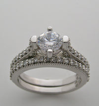 Engagement Bridal diamond Ring setting set for a 6.00 mm round diamonds