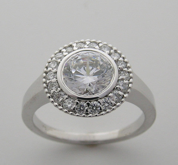Engagement Ring Setting Antique Halo Style with Diamonds