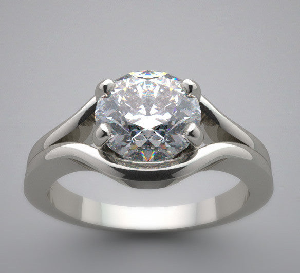 Solitaire Engagement Ring Setting for a 6.5 mm round diamond