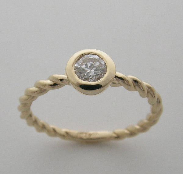 14k Gold Diamond Ring Twist Design pre engagement friendship teen