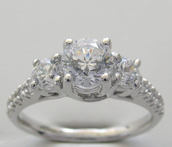 Three Stone Diamond Anniversary ring setting measuring 5.75 mm