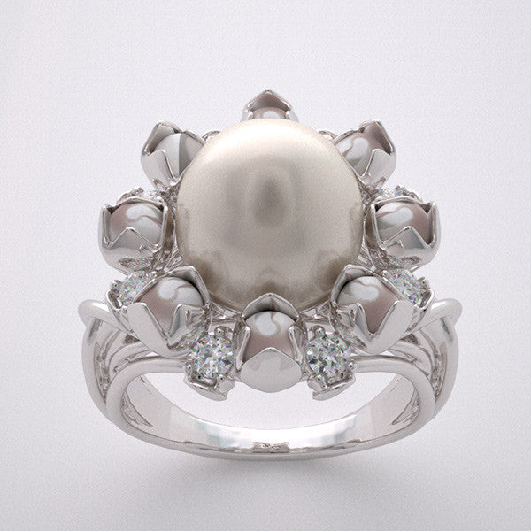 Unique Floral Design Pearl ring
