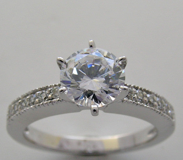 Classic Diamond Engagement Ring Setting for All Size and Gem Center