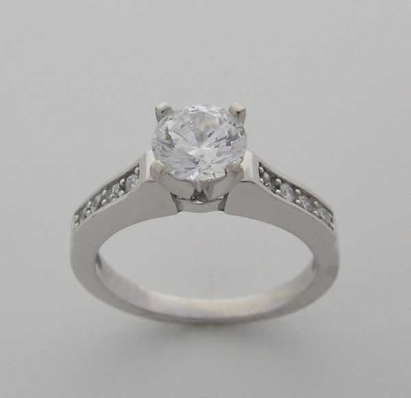 Engagement Ring Setting with Diamond Accents, for all size and shape diamonds