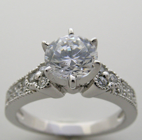 Art Deco Style Diamond Accent  Ring Settings Shown for a 6.5 mm diamond