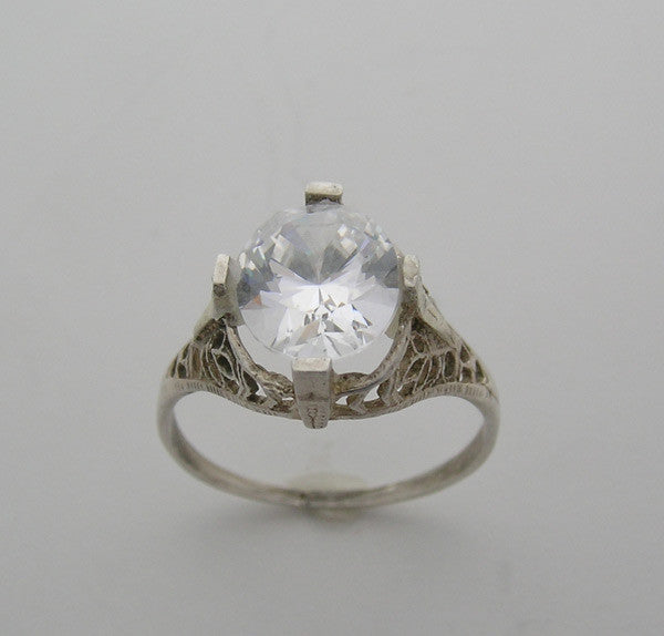 Art Deco Style Engagement Ring for an Oval Shape 11.00 x 9.00 mm
