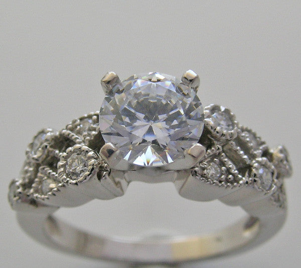 Diamond Ring Setting with Mil Grain to fit any size or Shape Gemstone