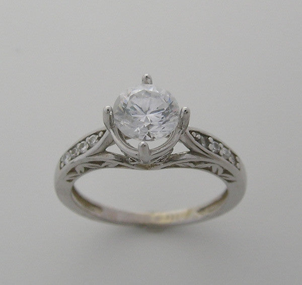 Antique Style feminine engagement ring setting