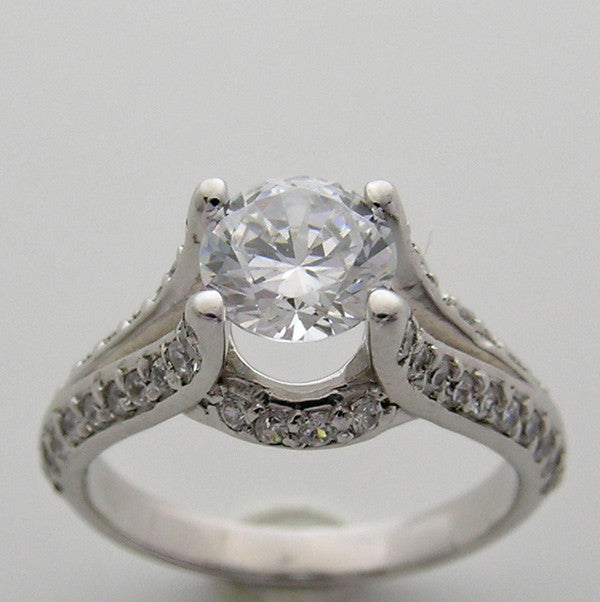 SPLIT SHANK DIAMOND ACCENTED ENGAGEMENT RING SETTING FOR A 6.50 MM GEMSTONE
