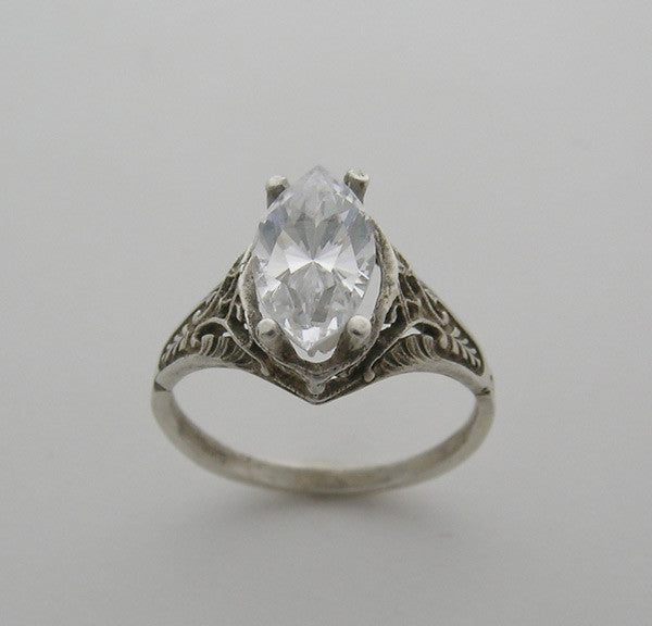 Antique Style Ring Setting filigree for a Marquise Shape Diamond measuring approx 12.00 6.00 mm